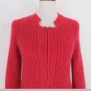 cabi zip wool blend cardigan Coral size small